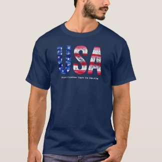 Cool Vintage USA American Flag Custom Text T-Shirt