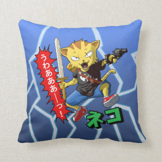 Cool Warrior Cat with Gun and Sword and Lightning Throw Pillow