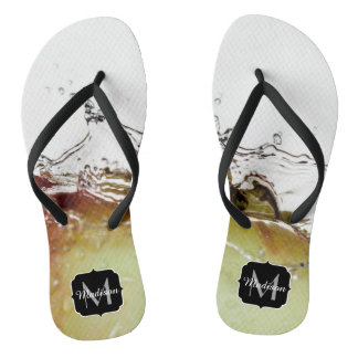 Cool water drop splash on apple Monogram Flip Flops