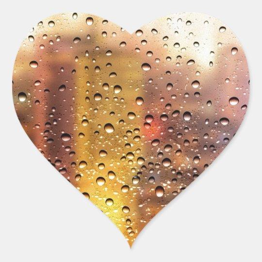 Cool water drops background texture design heart sticker