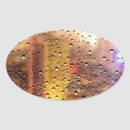 Cool water drops background texture design oval sticker