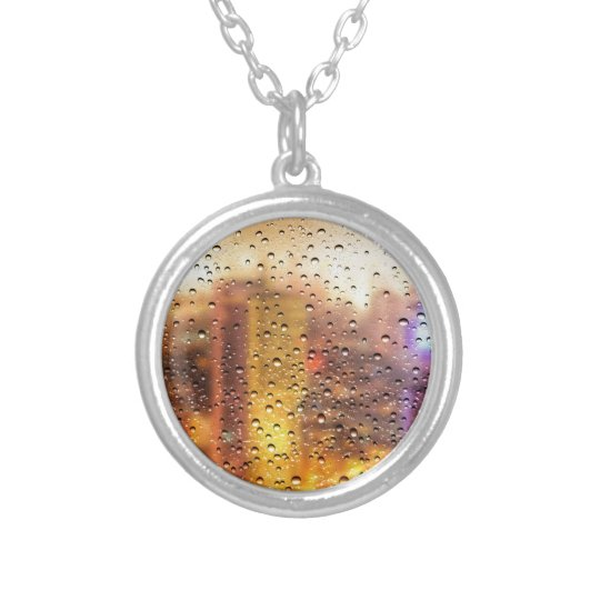 Cool water drops background texture design silver plated necklace