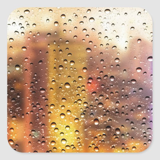 Cool water drops background texture design square sticker