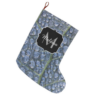 Cool water drops dew texture leaf Monogram Large Christmas Stocking