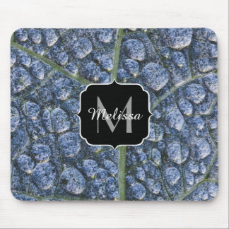 Cool water drops dew texture leaf Monogram Mouse Pad