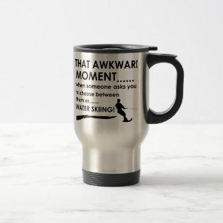 Cool water skiing  designs stainless steel travel mug