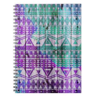 Cool Watercolor Aztec Wood Plank Design Spiral Notebook