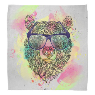 Cool watercolor bear with glasses design head kerchiefs