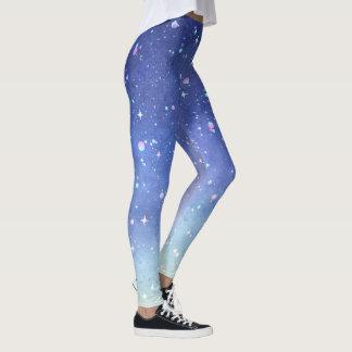 Cool Watercolor Starry Night Sky Leggings