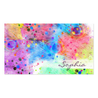 Cool watercolors peacock feathers abstract pattern pack of standard business cards