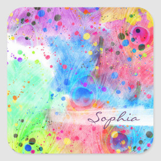 Cool watercolors peacock feathers abstract pattern square sticker