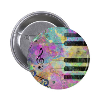 Cool watercolours splatters colourful piano 2 inch round button