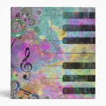 Cool watercolours splatters colourful piano 3 ring binder