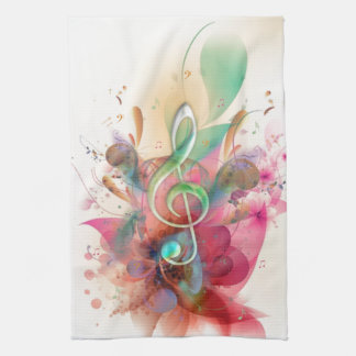 Cool watercolours treble clef music notes swirls hand towels