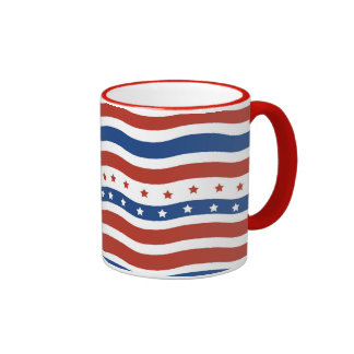 Cool Wavy Fourth of July Red White Blue American Ringer Coffee Mug