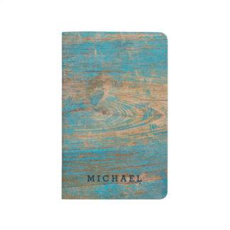 Cool Weathered Blue Peeling Paint Wood Texture Journal