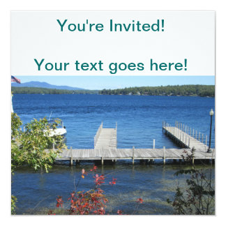 """Cool Weirs Beach Dock 5.25"""" Square Invitation Card"""