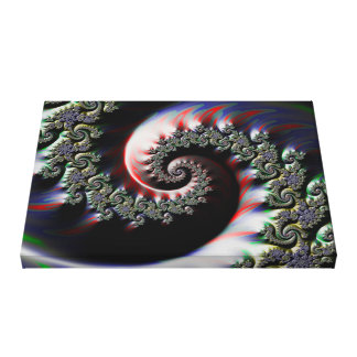 Cool Wet Paint Fractal Swirl of RGB Primary Colors Canvas Print