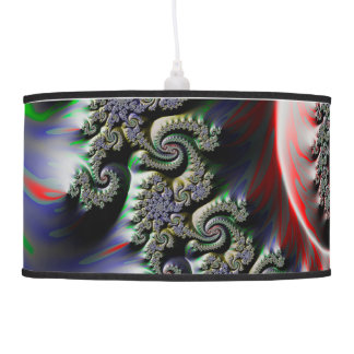 Cool Wet Paint Fractal Swirl of RGB Primary Colors Pendant Lamp