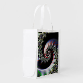 Cool Wet Paint Fractal Swirl of RGB Primary Colors Reusable Grocery Bag
