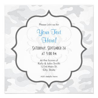 Cool White Camo, Camouflage Personalized Invites