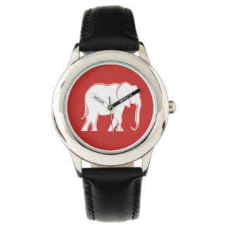 Cool White Elephant Red Black Stylish Minimal Chic Wristwatches
