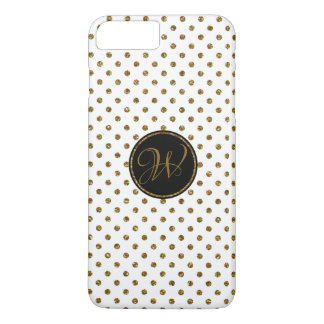 Cool White Gold Glitter Polka Dots With Monogram Case-Mate iPhone Case