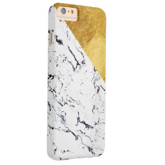 Cool White Marble with Gold Foil Barely There iPhone 6 Plus Case