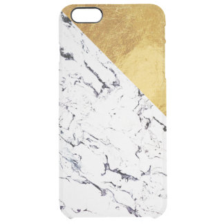 Cool White Marble with Gold Foil Clear iPhone 6 Plus Case