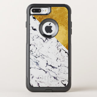 Cool White Marble with Gold Foil OtterBox Commuter iPhone 8 Plus/7 Plus Case