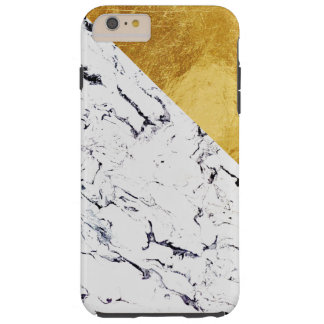 Cool White Marble with Gold Foil Tough iPhone 6 Plus Case
