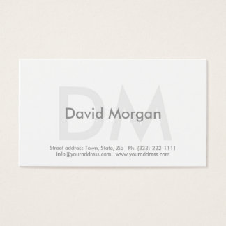 Cool White Modern Business Monogrammed Card