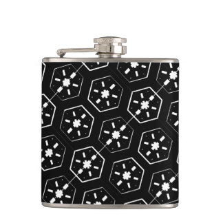 Cool White Star Inspired Pattern on Black Space Hip Flask