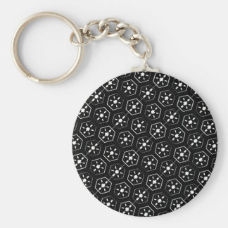 Cool White Star Inspired Pattern on Black Space Keychain