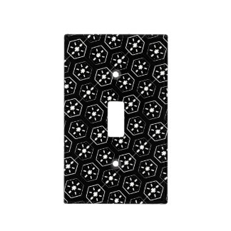 Cool White Star Inspired Pattern on Black Space Light Switch Cover