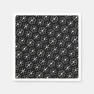 Cool White Star Inspired Pattern on Black Space Napkin