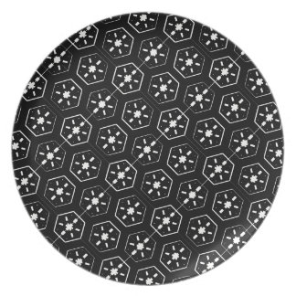 Cool White Star Inspired Pattern on Black Space Plate