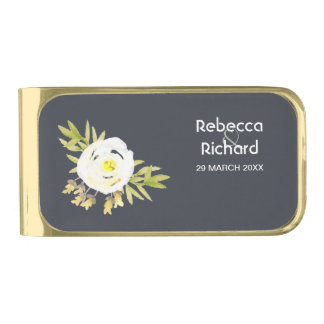 COOL WHITE & YELLOW WATERCOLOR FLORAL Personalised Gold Finish Money Clip