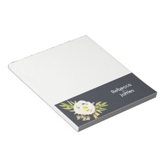COOL WHITE & YELLOW WATERCOLOR FLORAL Personalised Notepad