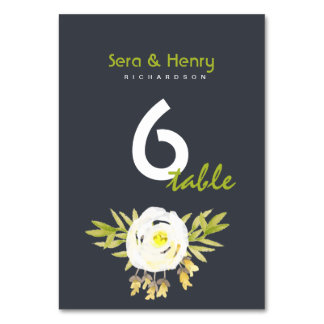 COOL WHITE & YELLOW WATERCOLOUR FLORAL TABLE CARD