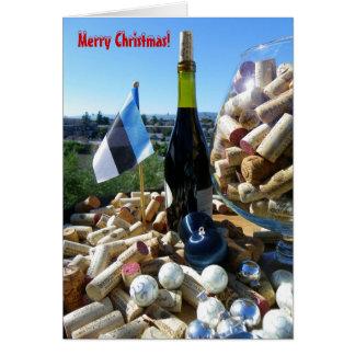Cool Wine & Estonian Flag Christmas Card! Card