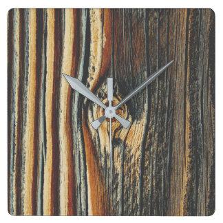 COOL Wood Grain Pattern Square Wall Clock