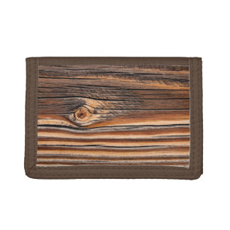 COOL Wood Grain Pattern Trifold Wallet