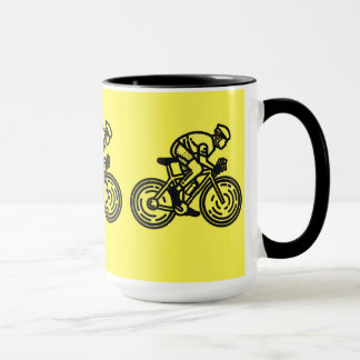 "Cool, yellow-black ""running on a bike"" mug"