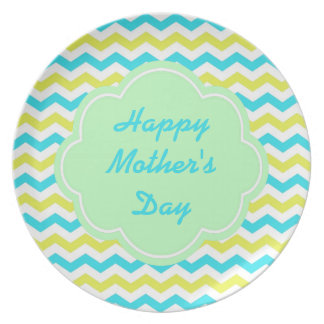 Cool yellow, blue chevron happy mother's day plate