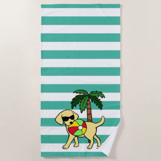 Cool Yellow Labrador Sunglasses Beach Towel