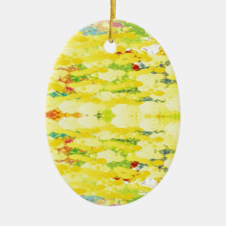 Cool Yellow Modern Pop Abstract Ceramic Oval Ornament