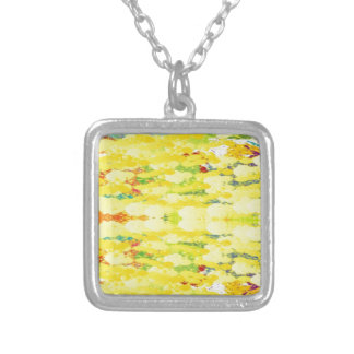 Cool Yellow Modern Pop Abstract Silver Plated Necklace