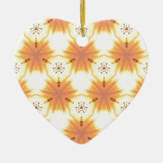 Cool Yellow Orange Bursting Seamless Pattern Ceramic Heart Ornament