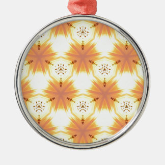 Cool Yellow Orange Bursting Seamless Pattern Silver-Colored Round Ornament